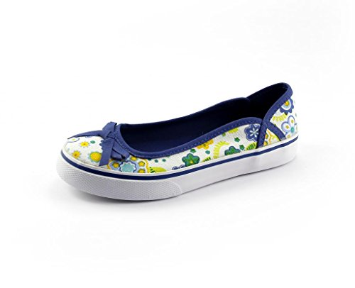The Doll Maker Girl's Floral Flat Color Blue Floral Size: 2, - Doll Shoes Flats