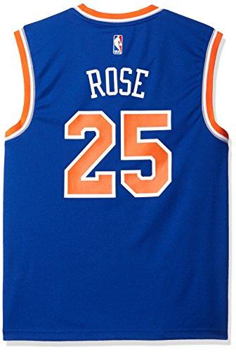 - NBA Men's New York Knicks Derrick Rose Replica Player Stretch Jersey, Medium, Blue
