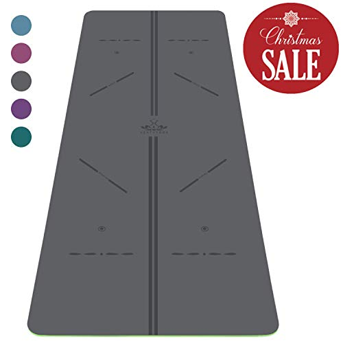 """Heathyoga ProGrip Non Slip Yoga Mat with Alignment Lines, Revolutionary Wet-Grip Surface & Eco Friendly Material, Perfect for Hot Yoga and Bikram, Free Carry Bag 72""""X26"""""""