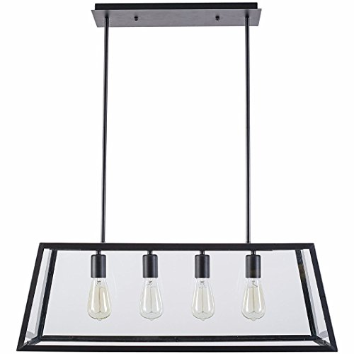 Morley 4-Light Kitchen Island Pendant, Matte Black Shade with Clear Glass Panels, Modern Industrial (Matte Black Kitchen Island)