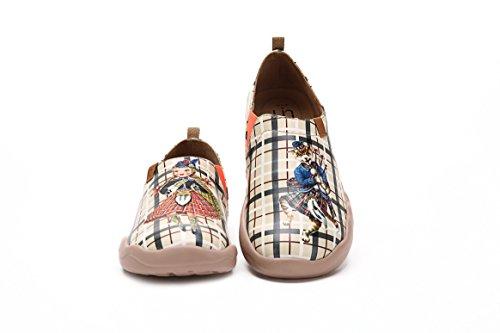 Uin Donna Da Favola Scozzese Coppia In Microfibra Sneaker Beige