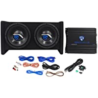 Rockville RV8.2A 800 Watt Dual 8 Car Subwoofer Enclosure+Mono Amplifier+Amp Kit