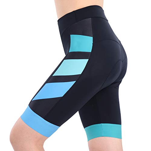 beroy Bike Shorts with 3D Gel Padded,Womens Gel Cycling Shorts(XXL,Blue+Green)