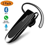 Bluetooth Earpiece- Wireless Bluetooth Headset Noise Cancelling with Mic 24Hrs Talktime Hands-Free 1440Hrs Standby Time Headphones Compatible with iOS/Android Smart Phones, Driver Trucker (2 Pack)
