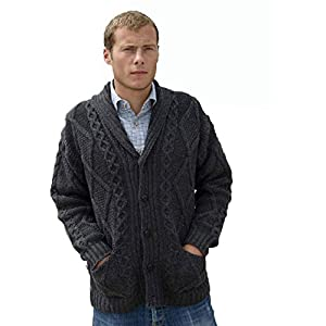 Irish Aran Knitwear 100% Irish Merino Wool Men's Shawl Neck Cardigan Sweater with Pockets | Made in Ireland
