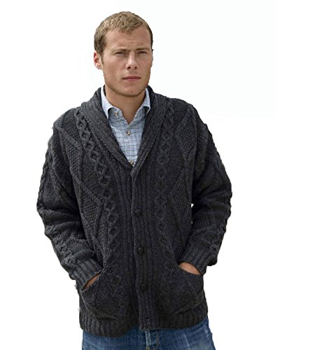 Wool Mens Sweater - Irish Aran Knitwear 100% Irish Merino Wool Men's Shawl Neck Cardigan Sweater with Pockets (Charcoal, Extra Large)