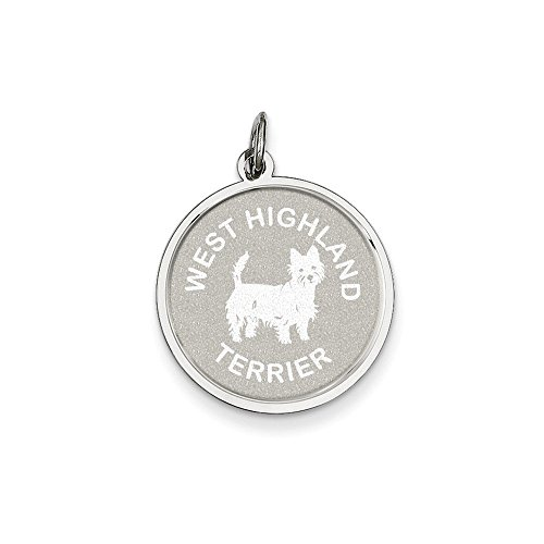 .925 Sterling Silver West Highland Terrier Dog Disc Charm Pendant