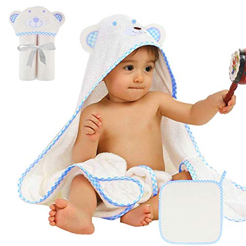 Premium Baby Towel, EASTBULL Cute Bear Hooded Baby Bath Towel Organic 100% Bamboo Cotton with 500GSM Extra Soft for Kids, Perfect Baby Shower Gift for Boys, Girls - Bath Bears Care Towel