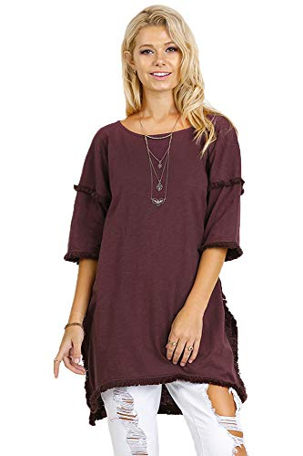 Textured Knit Top - Best Seller! Textured Knit Tunic with Fringe Accents (medium, Wine)