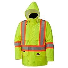 Pioneer V1090160-5XL Lightweight Hi-Viz Safety Rain Jacket, Comfort Fit, Green, 5X-Large