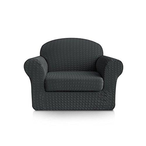 Subrtex 2-Piece Print Jacquard Spandex Fabric Stretch Sofa Slipcovers (Chair, ()