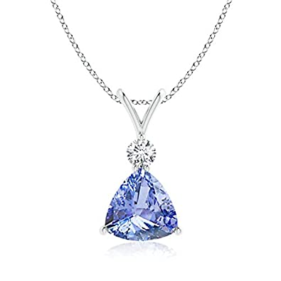 Angara Natural Tanzanite and Diamond V-Bale Pendant in Platinum