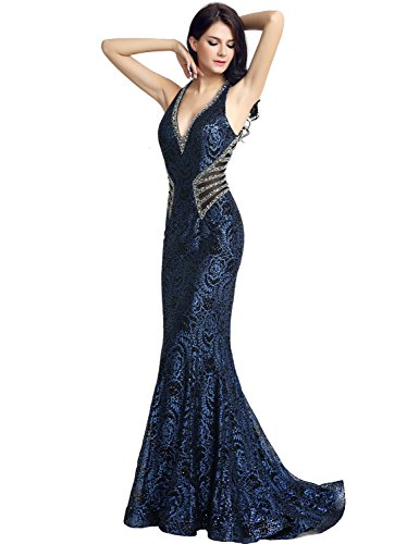 Sarahbridal Womens Lace Mermiad Prom Dress Long 2017 Sequin Evening ...