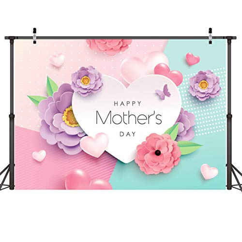 Dudaacvt 7x5ft Happy Mother's Day Backdrops Love Heart Photography Background Flower Backdrop Photography Studio Mother's Day Backdrops Photo Studio Props D162]()