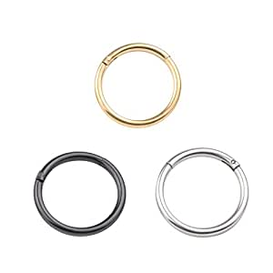 Amazon.com: 16G Unisex Nose Hoop Ring Earring Hinged