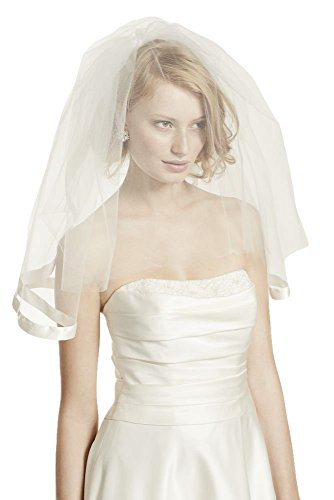Satin Veil with Ribbon Trim and Blusher Style V123, (Bridal Satin Veil)
