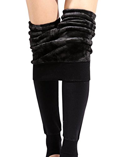 CHRLEISURE Winter Leggings for Women - Warm Fleece Lined Leggings, Velvet Thick Thermal Tights Black -