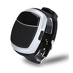 Wireless Bluetooth Watch Speaker Portable Sports Music Bicycle with Mic Support Handsfree Call MicroSD TF Card FM Radio Time Display Alarm Clock Self-timer Wearable Bracelet (Silver)