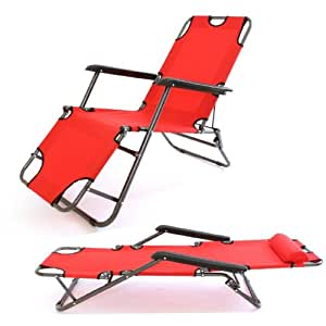 2 x Charles Jacobs Stylish Sun Lounger/Reclining Chairs (Red)