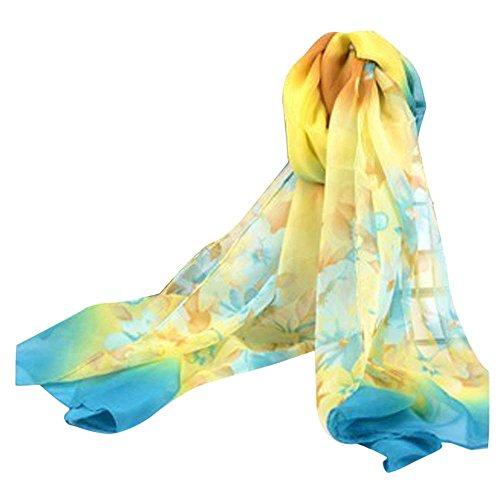 (Bestpriceam Women Lady Chiffon Butterfly Print Neck Shawl Scarf Scarves Wrap Stole (Blue New))