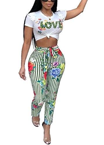 2 Piece Outfits for Women Striped Floral Print Short Ruffle Sleeve Tee T-Shirt Crop Top + Bodycon Stretch Long Pants Set Green, Small