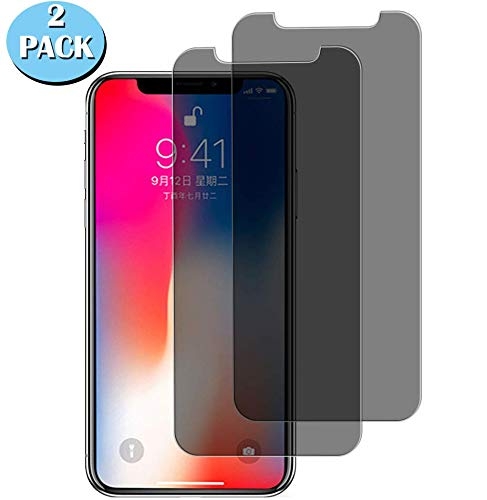 pehael Privacy Screen Protector for iPhone Xs iPhone X, Anti Spy Black Tempered Glass, High Definition, Easy Install[2 Pack](5.8 inch)