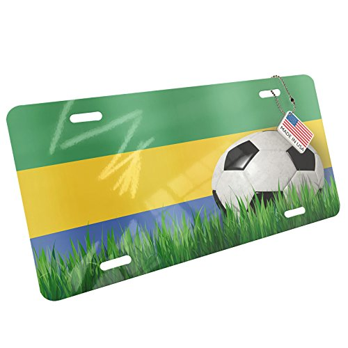 Metal License Plate Soccer Team Flag Gabon - Neonblond by NEONBLOND