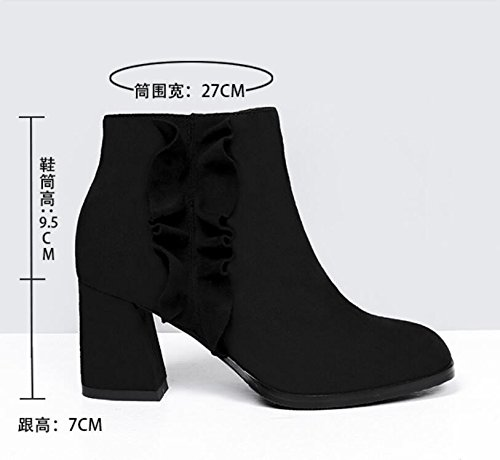 KHSKX-El otoño y el invierno el nuevo entrenador coreano zapatos de gamuza casual todo el partido con basta medir la cremallera botas y botas de mujeres desnudas black