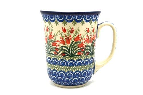 (Polish Pottery Mug - 16 oz. Bistro - Crimson Bells)