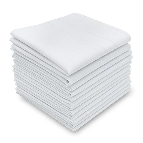 Silky Soft 100 Cotton Men's Handkerchiefs Solid White with Stripe 17'' Large Hankies 12 Pcs by Neatpal