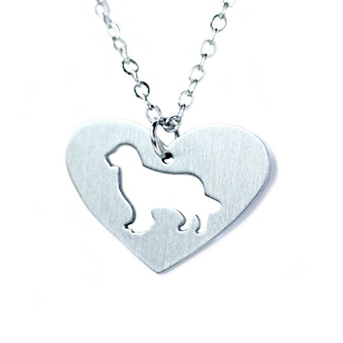 (Silver Tone I Love My Dog Lover Heart Outline Pet Puppy Pendant Necklace (Heart Golden Retriever) )