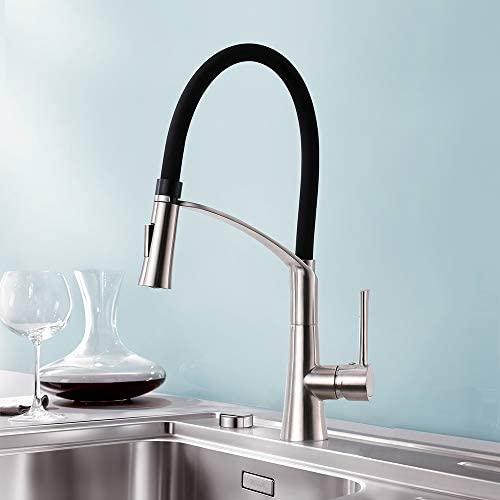 Kitchen Sink Faucet with Pull Down Sprayer in Stainless Steel, CREA cUPC Certified Pull Out Sprayer Faucet Kitchen in Brushed Nickel