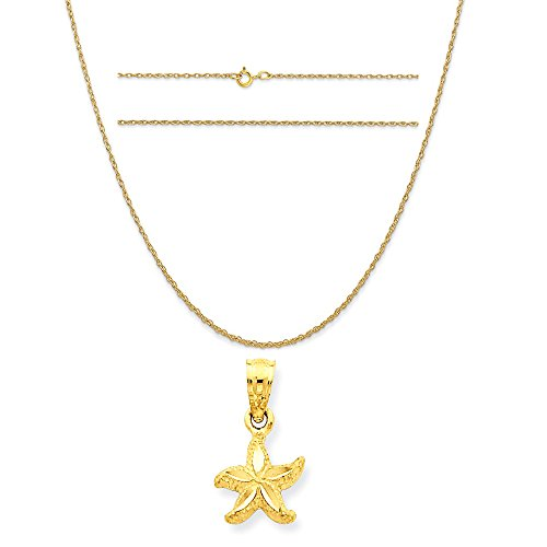 14k Yellow Gold Starfish Pendant on a 14K Yellow Gold Carded Rope Chain Necklace, 16