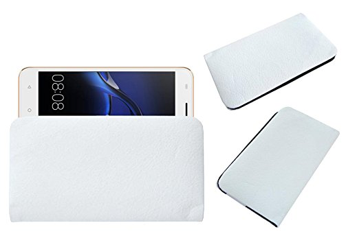 Acm Rich Soft Handpouch Carry Case Compatible with Aqua Jazz S1 4g Mobile Leather Cover White