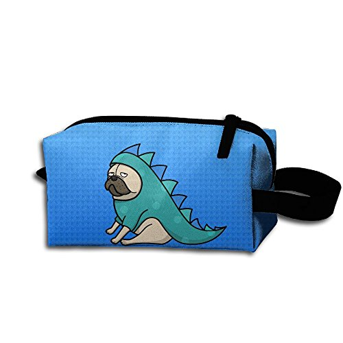 Pugs In Dinosaur Costumes (Pug Not Dinosaur Portable Printed Cosmetic Case Bag Appropriate Capacity Portable Women Makeup Cosmetic Bags Storage Bags For Travel)