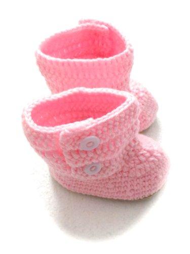 BB. 110–Hausschuhe Schuhe Baby Kinder 9–12Monate–Gr. 19–Stiefel Stiefelette Rosen–Haken Handarbeit