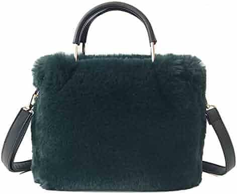 Yu He Womens  Faux fur Messenger Crossbody Shoulder Bag Satchel Tote Handbag 3a0cc1ac129b1