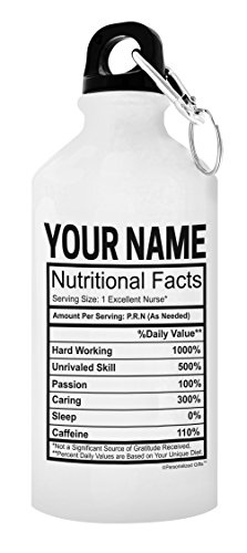 Personalized Nurse Gifts for Women Custom Nurse Name Nurtritional Facts Nurse Gifts for Men Male Nurse Personalized Gift 20-oz Aluminum Water Bottle with Carabiner Clip Top ()