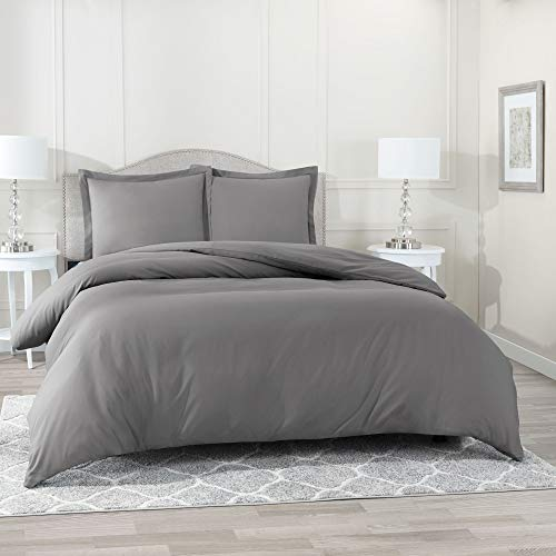 (Nestl Bedding Duvet Cover 3 Piece Set - Ultra Soft Double Brushed Microfiber Hotel Collection - Comforter Cover with Button Closure and 2 Pillow Shams, Gray - Queen)