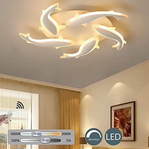 KBEST Lampada da Soffitto LED Plafoniera Dimmerabile con Telecomando Forma Moderna Forma di Pesce Elegante Luce Metallo Acrilico per Soggiorno Cucina Camera Bagno Hotel,5Heads