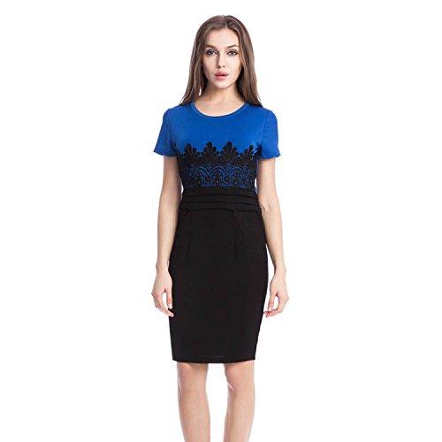Adolpha Damen Kleid Langarm Slim Square Kragen Polyester Frühling Sommer (blau, rot) , blue , xxl