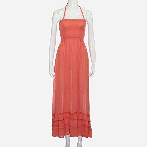 Fanyunhan Womens Ladies Summer Halter Neck Long Dress Bohemian Strappy Backless Maxi Dress Beach Evening Party Sling Sundress Orange by Fanyunhan Dress (Image #1)
