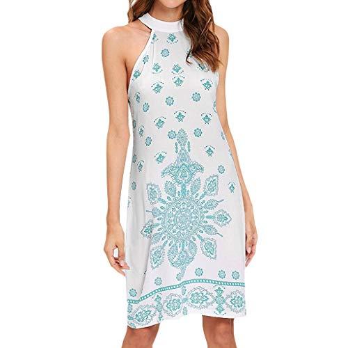 - GHrc dhw Stylish Women Boho Elegant Summer Casual Print Sleeveless Hanging Neck Strappy Dress White