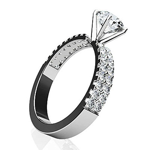 Or blanc 14K Mer des diamants Bague de fiançailles