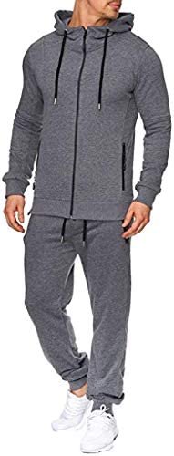 SPE969 Men`s 2Pcs Full-Zip Hoodie TracksuitAutumn Print Zipper Sweatshirt Hooded Top Pants Sets Sports Suit