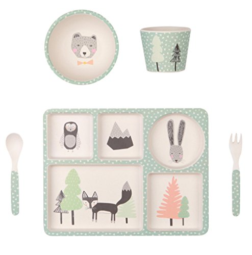 Love Mae Bamboo Dinner 5pc Set (Fox & - Forest Bambo