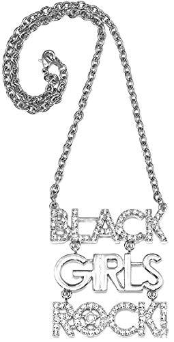 GWOOD Black Girls Rock Medium Size Silver Color 18 Inch Necklace