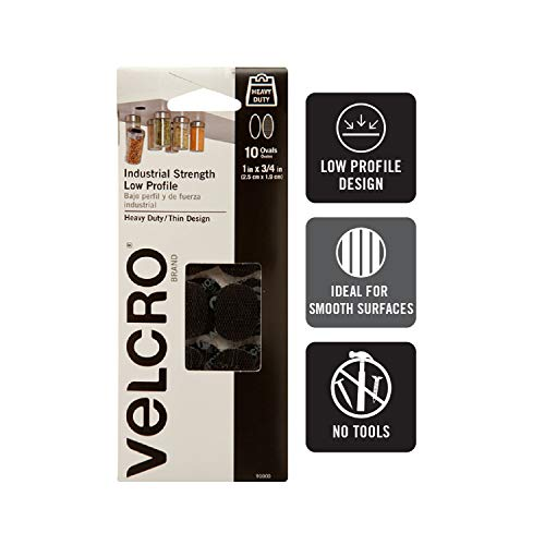 VELCRO Brand Industrial Fasteners   Low Profile Thin Design   Professional Grade Heavy Duty Strength   Indoor Outdoor Use   1in x 3/4in Ovals, 10 Sets, Black from VELCRO Brand