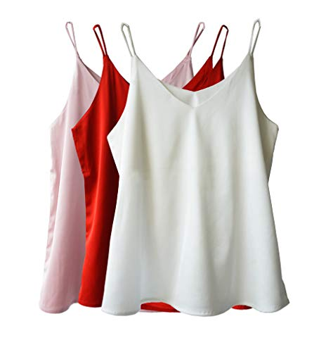 (Wantschun Womens Silk Satin Camisole Cami Plain Strappy Vest Top T-Shirt Blouse Tank Shirt V-Neck Spaghetti Strap US Size S;Pink+White+Red)