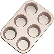 CHEFMADE Muffin Cake Pan, 6-Cavity Non-Stick Cupcake Pan Bakeware for Oven Baking (Champagne Gold)